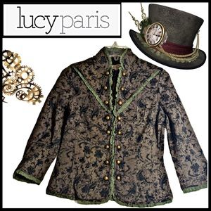 NWT LUCY PARIS BROCADE MILITARY STEAMPUNK JACKET S